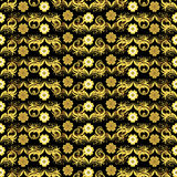 Seamless  floral golden pattern Royalty Free Stock Image