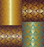 Seamless floral golden pattern on color background Royalty Free Stock Images