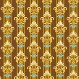 Seamless floral Golden pattern on striped blue background. Striped brown background shows gold and blue stylized flowers. Seamless background for printing and Stock Images