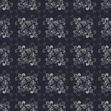 Seamless  Floral Grayscale Pattern on the Blue-Gray Background Stock Photos