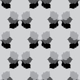 Seamless Floral Grayscale Pattern with Oak Leaves Stock Images