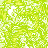 Seamless floral green and yellow doodle pattern Stock Photos