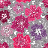 Seamless floral grey pattern Royalty Free Stock Photo