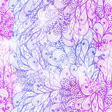 Seamless floral grunge  blue and violet pattern Stock Photo