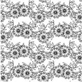 Seamless floral hand drawn monochrome pattern Royalty Free Stock Images