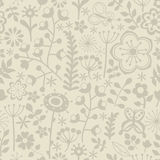 Seamless floral hand-drawn pattern, leaf and flower background seamlessly tiling. Retro pattern with leaf. Organic ornament can be Royalty Free Stock Image
