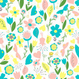 Seamless  floral handmade  pattern Stock Photos