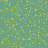 Seamless floral heart fabric green olive tone Stock Photography