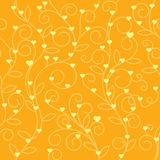 Seamless floral heart fabric orange tone Royalty Free Stock Photography