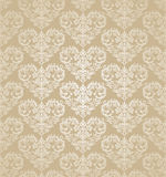 Seamless floral hearts golden damask wallpaper. This image is a vector illustration Stock Photos