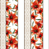 Seamless floral lace pattern with orange lilly flowers backgroun. Seamless floral white lace pattern with orange lilly flowers background Royalty Free Stock Photo