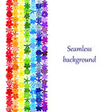 Seamless floral mosaic rainbow border. Rainbow background consisting of colourful flowers. Vector creative concept Royalty Free Stock Image
