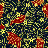 Seamless floral night pattern Stock Image
