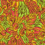Seamless floral orange and green doodle pattern Stock Photography