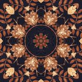 Seamless floral ornament, bark on fabric Stock Images