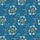 Seamless floral ornament on a blue background Royalty Free Stock Photo