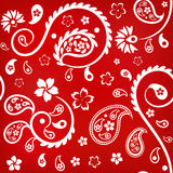 Seamless floral ornament with turkish (indian) cucumbers, white on red background Stock Image