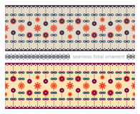 Seamless floral ornament. Two wide ornamental strips with cute colorful flowers Stock Photos