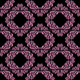 Seamless floral ornamental pink Pattern on black Stock Photos