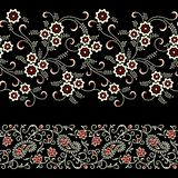 Seamless floral paisley border on black color vector illustration