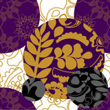 Seamless floral patchwork pattern with gold leaves - stock vecto Royalty Free Stock Images