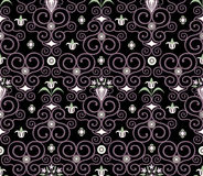 Seamless floral pattern. Oldfashioned seamless floral vector pattern on a black background Stock Image