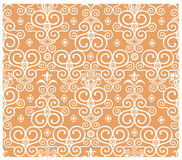 Seamless floral pattern. Seamless white floral pattern on orange background stock illustration