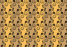 Seamless floral pattern. Black floral design on a yellow-brown background Royalty Free Stock Photo