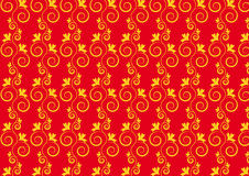 Seamless floral pattern. Golden floral design on dark red background Royalty Free Stock Images