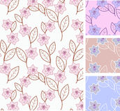 Seamless floral pattern. Spring flowers - set of seamless floral patterns vector illustration