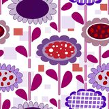Seamless floral pattern. Seamless cartoon background with art flowers Stock Photos
