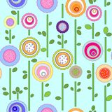 Seamless floral pattern. Circles pattern with abstract flowers Royalty Free Stock Images