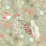 Seamless floral pattern. Funny love bright fish on a white background with hearts Stock Image