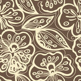 Seamless floral pattern. With brawn back stock illustration