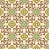 Seamless floral pattern. Ornament of brown color consists of abstract flowers and leaves Royalty Free Stock Image