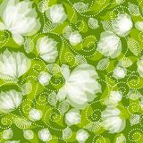 Seamless floral pattern. Seamless green decorative floral pattern with white flowers Stock Photo