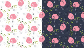 Seamless floral pattern. With dark and light background as alternative Stock Photo