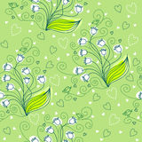 Seamless floral pattern. With lily of the valley and cute birds Stock Photography
