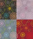 Seamless floral pattern. Seamless pattern  with  roses in four color schemes Royalty Free Stock Images