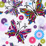 Seamless floral pattern. Floral seamless pattern with colorful butterflies and gray drops (vector Royalty Free Stock Photos