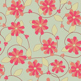 Seamless floral pattern. Light red and ocher flowers seamless pattern Royalty Free Stock Photography
