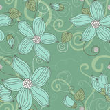 Seamless Floral Pattern. With Green background Stock Photos