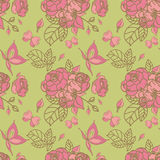 Seamless floral pattern. With vintage roses on green background Royalty Free Stock Image