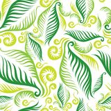 Seamless floral pattern. Seamless green floral pattern with twirled fern leafs royalty free illustration