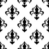 Seamless floral pattern with abstract black lilies Stock Images