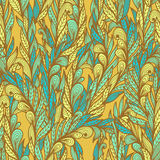 Seamless floral pattern with abstract feathers Stock Photo