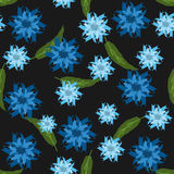Seamless floral pattern. Abstract flowers and long leaves. Royalty Free Stock Images