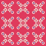 Seamless floral pattern with abstract flowers. Floral pattern with abstract scandinavian flowers - pattern based on traditional folk ornaments. Seamless stock illustration