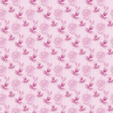 Seamless floral pattern abstract rosebuds and leaves pink violet diagonally Royalty Free Stock Photo