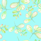 Seamless floral pattern with the abstract watercolor green branches. Hand drawn on a mint background Stock Photo